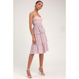 Lulu's Adorn Lavender Lace Strapless Midi Dress